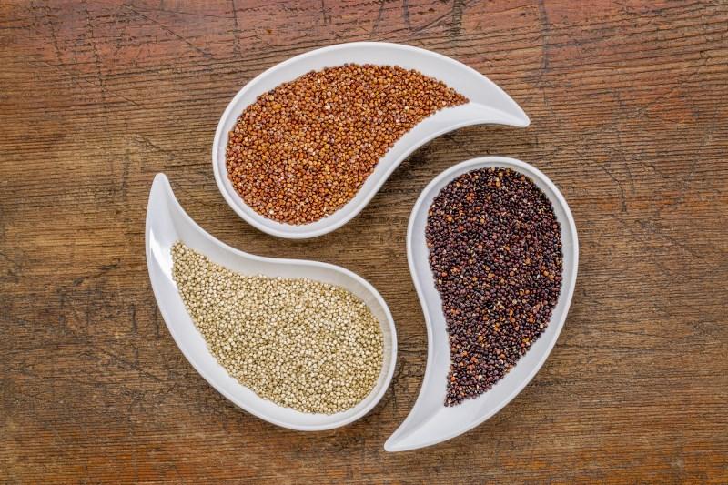 Quinoa is zeer rijk aan eiwitten, met alle essentiële aminozuren