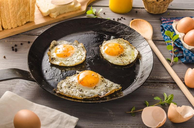 breakfast eggs on a skillet