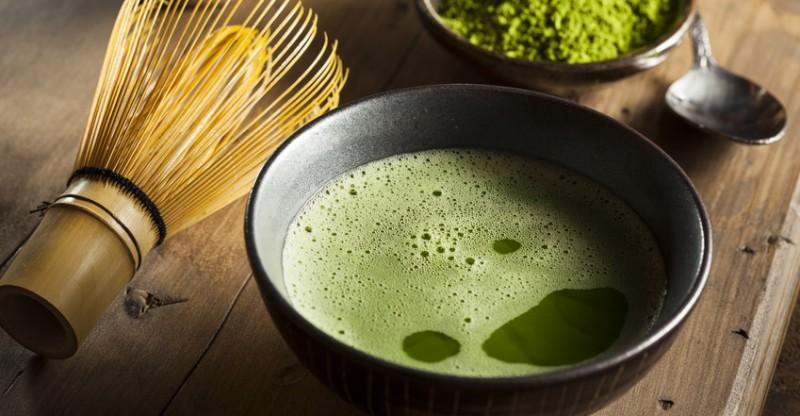 Organic Green Matcha Tea in a Bowl