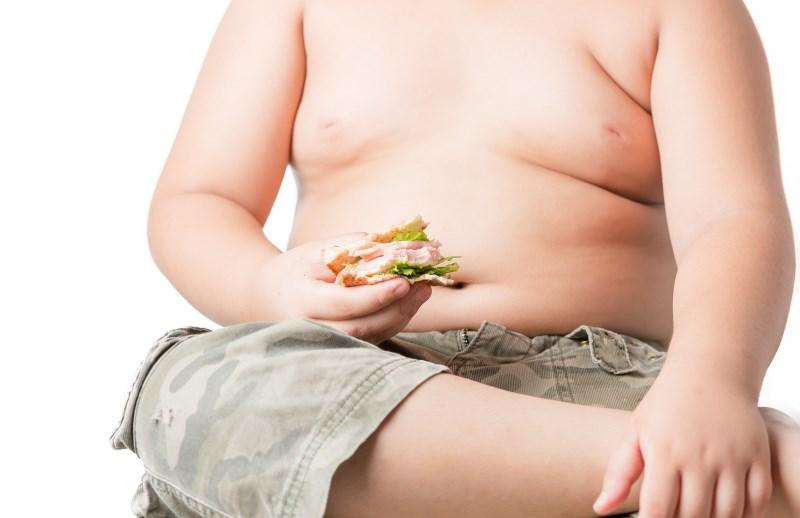 obese kid on white background
